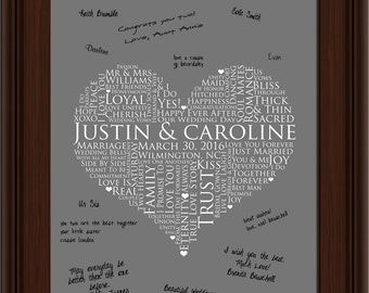 Wedding Keepsake love poster, 13x19 Signature Guest Book, Wedding Guestbook, personalized wedding word art, WEDDING signature GUESTBOOK
