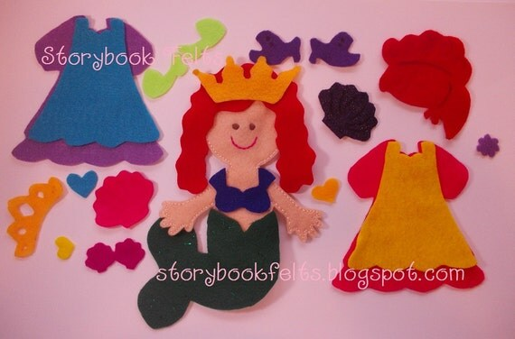 Storybook Felts Felt My Little Mermaid Princess Doll Dress Up Set With Book 23 PCS Paper Doll