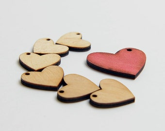 6 laser cut small hearts. Unfinished wood. Jewelry supply.