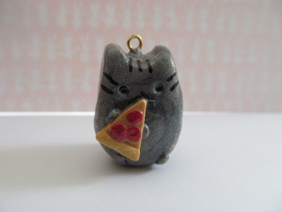 Pusheen the Cat Eating Pizza Charm by SKSCreationsandmore on Etsy
