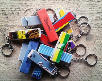 Recycled Skateboard Keychain with Graphic
