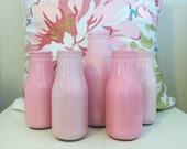 Set of 5 Assorted Pink Painted Milk Bottle Jars - Shabby Chic Vases