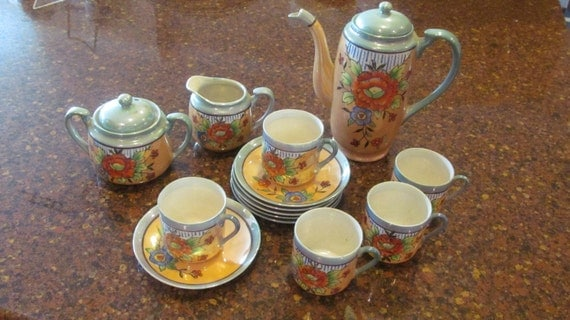 16 Pcs Lusterware Tea Set Hand Painted Made In By