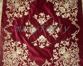 christmas gifts, christmas decor,wedding decor, for bridal, for your house, velvet, dark red, gold color embroidered tablecloth,table runner