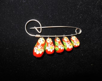 Vintage Russian Doll Pin/ Brooch