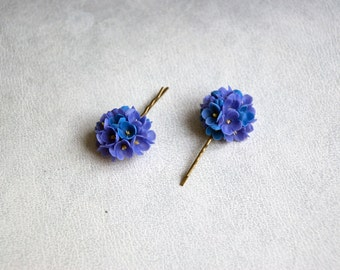 Blue hair clips, purple set, hair accessories, lilac flowers