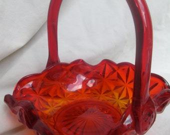 Vintage Amberina Candy Dish with Handle