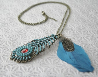 Teal Feather Necklace / Blue and Red Feather Pendant Necklace / Teal and Red Boho Native Necklace
