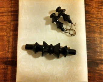 Victorian Jet Mourning Brooch and Earring Set