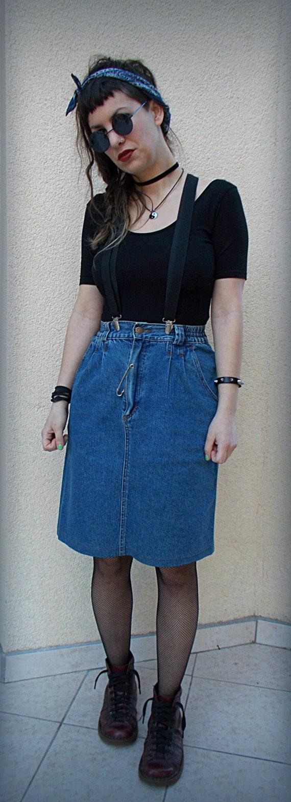 summer sale denim skirt 90s blue high waist grunge boho