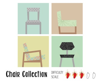 Chair Collection paper pieced quilt pattern in PDF