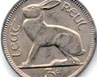 Lot of 5- Ireland 3 Pence - Rabbit coin - km12a - circulated - Hare - Lapin - Irish coin - jewelry - collection