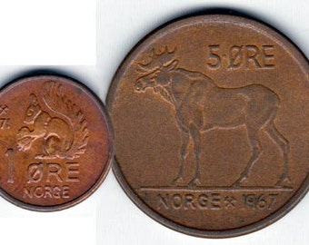 Coin Connoisseur - Rocky and Bullwinkle coin set - Vintage Squirrel and Moose coins from Norway - KM403 and 405