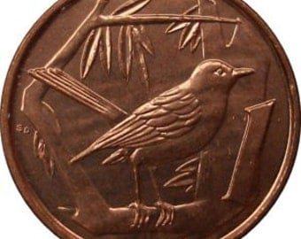 Coin Connoisseur - Cute copper Thrush bird coin from the Cayman Islands - KM87a - uncirculated