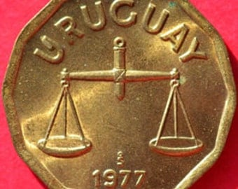 Coin Connoisseur - Uruguay brass vintage coin - Scales of Justice - 50 Centesimos - KM68 - 1976-1981 - circulated