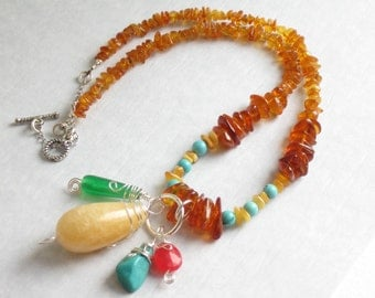 amber turquoise necklace, chunky stone necklace,  earthy boho jewelry, stone charm necklace