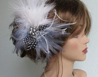 Wedding  Feather Hair Clip Fascinator Wedding Accessory Ostrish Feathers Pearls Brooch