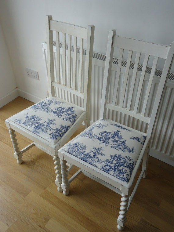 Items similar to blue white toile shabby chic chair for Toile shabby chic