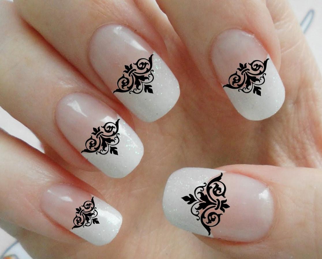 63 Black Lace Damask Nail Art Tips Megapack Dmt By