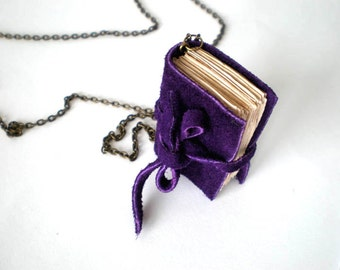 miniature book necklace, mini book jewelry, leather journal,violet mini book, tiny book, tiny library, small book, keepsake