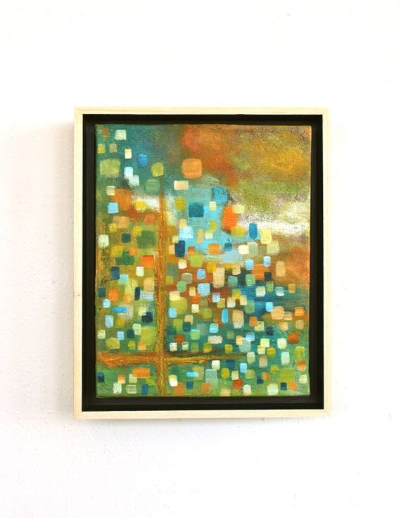 original abstract framed painting colorful mid century midcentury modern geometric squares rectangles Samba