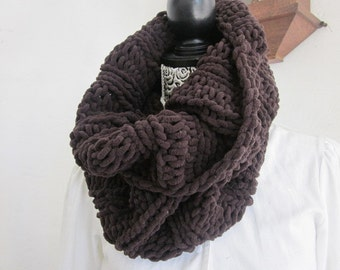 Hand Knit Cowl Scarf, Neck Warmer, Tube Scarf, Brown Wool, Winter Fashion, Winter Accessories