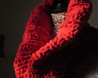 Hand Knit Cowl Scarf, Neck Warmer, Tube Scarf, Red Wool, Knit Cowl, Handmade,