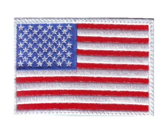 US White Border Flag Embroidered Patch