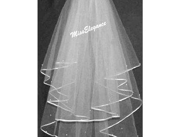 "Bridal Veil ,Wedding Veil,2 tier Shoulder Length 15"" 20"",Communion Veil,Hennight veil.3mm satin Ribbon edge.detachable comb & Loops."