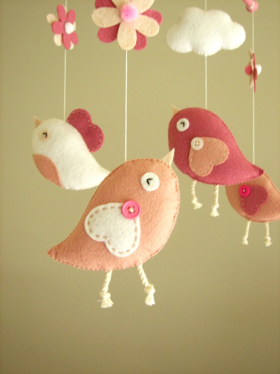 Baby crib mobile bird mobile felt mobile nursery by feltnjoy for Bird mobiles for nursery