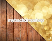 Combo - Two 4ft x 4ft Vinyl Photography Backdrop and Floor Drop - Gold Glitter Bokeh / Dark Stained Wood Plank Floor - Items 617 & 1111