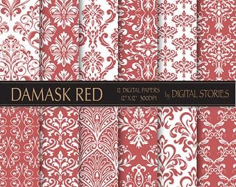 "Damask Digital Paper: ""DAMASK RED"" scrapbook digital paper with vintage elements in red for scrapbooking, invites,cards"