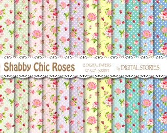 "Shabby Chic Digital Paper: ""DOTS ROSES"" Floral Colorful for scrapbooking, invites, cards"
