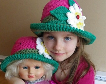 Crochet Hat Pattern, Crochet Hat Kids, Baby Crochet Hat Pattern,Strawberry, Daisy, Ladybug button, Child Watermelon hat, Girl, Brim, Summer