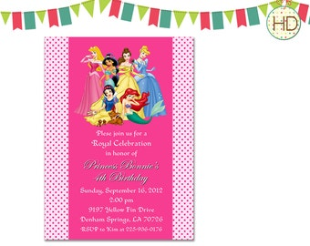 Disney Princess Invitation, Princess Invitation, Princess Birthday Party