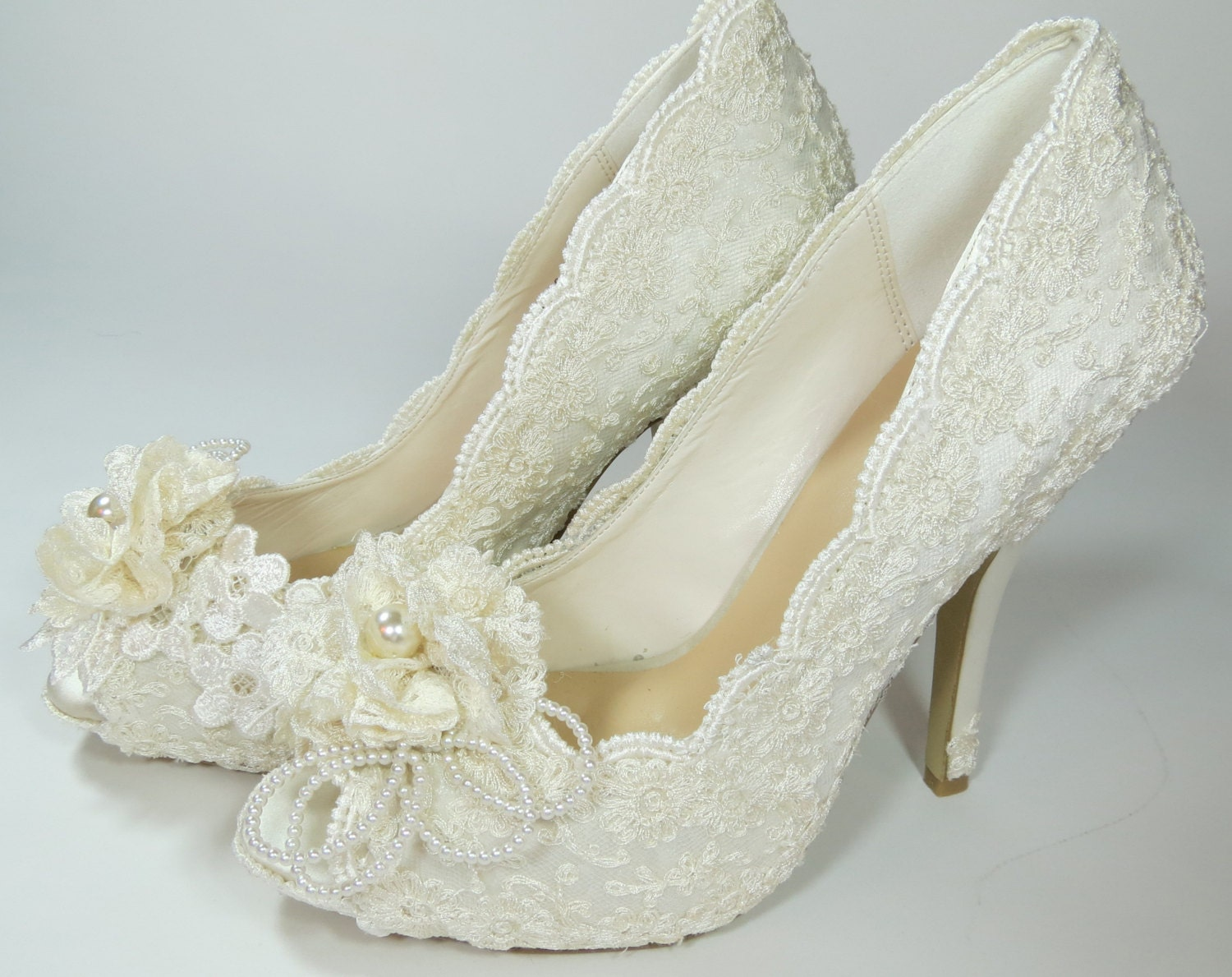 WeDDING LACe HEELS MADERIA Collection Ivory By MaryMarryMe
