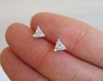 3mm, 4mm, 5mm availale. Tiny Sterling 4mm Silver Triangle CZ Ear Studs, CZ diamond stud earings, tiny stud, dainty earrings, minimalist.