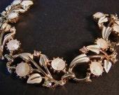 Vintage Coro Bracelet AB Rhinestones White Enamel Faceted Art Glass Flowers 7 inches