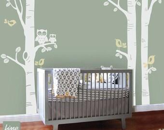 NURSERY BIRCH TREE Decal - Birch Tree Nursery Decal  -Children Wall Decal Wall Sticker Nursery decal