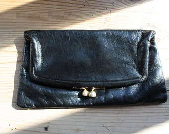 SALE / Rock and Roll Shiny Black Purse Clutch Evening Bag