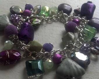 Purple and Green Rock/Shell/Diamond Beaded Bracelet