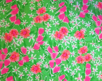 "18"" x 19"" Lilly Pulitzer Fabric New Green Everythig Nice"
