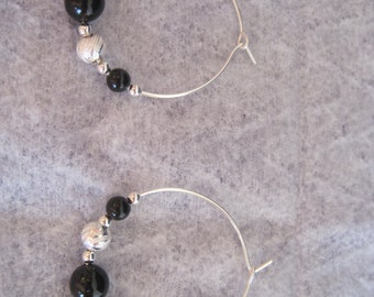 Sterling Silver and Black Onyx Hoop Earrings