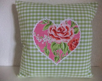 cushion cover, checkered, with heart, rose