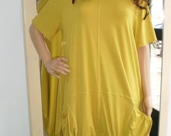 Assymetric Dress Long Tunic Long Jersey Tunic  Casual Dress Plus Sizes & Nara DT002