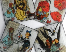 Wizard of Oz Coaster Set from Upcycled Dictionary page book art - WilD WorDz StoryBook Edition - Follow the Yellow Brick Road