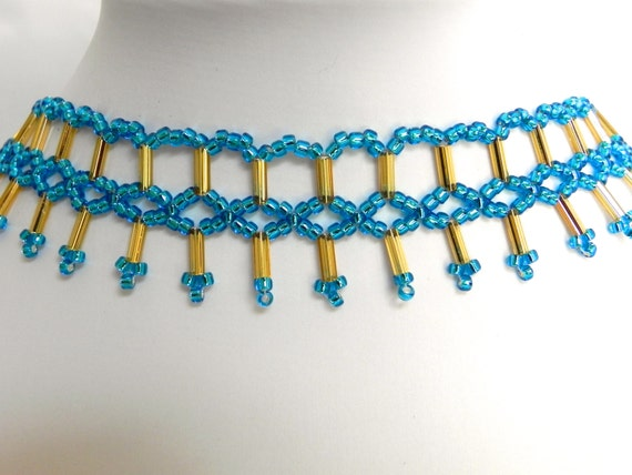 Adjustable Blue and Gold Seed Beaded Choker and Necklace