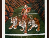 Valley of Death small print - Jeff McJunkin  Four fierce Tigers protect Death Valley in Clemson from all those that would challenge.