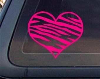 "Zebra Heart 5"" Vinyl Decal Widow Sticker for Car, Truck, Motorcycle, Laptop, Ipad, Window, Wall, ETC"