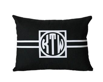 Custom Monogram Lumbar Pillow Cover